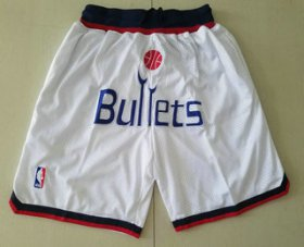 Wholesale Cheap Men\'s Washington Bullets White Just Don Shorts Swingman Shorts