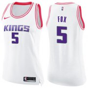 Wholesale Cheap Women's Sacramento Kings #5 De'Aaron Fox White Pink NBA Swingman Fashion Jersey