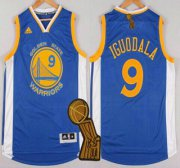 Wholesale Cheap Golden State Warriors #9 Andre Iguodala Revolution 30 Swingman 2014 New Blue Jersey With 2015 Finals Champions Patch