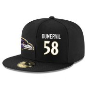 Wholesale Cheap Baltimore Ravens #58 Elvis Dumervil Snapback Cap NFL Player Black with White Number Stitched Hat