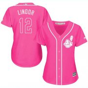 Wholesale Cheap Indians #12 Francisco Lindor Pink Fashion Women's Stitched MLB Jersey
