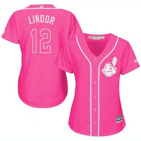 Wholesale Cheap Indians #12 Francisco Lindor Pink Fashion Women\'s Stitched MLB Jersey