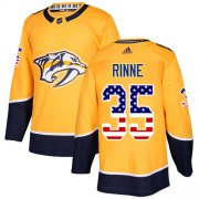 Wholesale Cheap Adidas Predators #35 Pekka Rinne Yellow Home Authentic USA Flag Stitched NHL Jersey