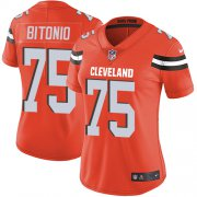 Wholesale Cheap Nike Browns #75 Joel Bitonio Orange Alternate Women's Stitched NFL Vapor Untouchable Limited Jersey