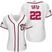 Wholesale Cheap Nationals #22 Juan Soto White Home 2019 World Series Champions Women's Stitched MLB Jersey