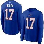 Wholesale Cheap Buffalo Bills #17 Josh Allen Nike Player Name & Number Long Sleeve T-Shirt Royal