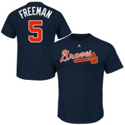 Wholesale Cheap Atlanta Braves #5 Freddie Freeman Majestic Official Name and Number T-Shirt Navy