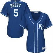 Wholesale Cheap Royals #5 George Brett Royal Blue Alternate Women's Stitched MLB Jersey