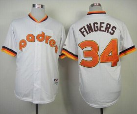 Wholesale Cheap Padres #34 Rollie Fingers White 1984 Turn Back The Clock Stitched MLB Jersey