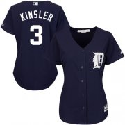 Wholesale Cheap Tigers #3 Ian Kinsler Navy Blue Alternate Women's Stitched MLB Jersey