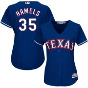 Wholesale Cheap Rangers #35 Cole Hamels Blue Alternate Women's Stitched MLB Jersey