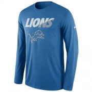 Wholesale Cheap Men's Detroit Lions Nike Blue Legend Staff Practice Long Sleeve Performance T-Shirt