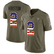 Wholesale Cheap Nike Saints #2 Jameis Winston Olive/USA Flag Youth Stitched NFL Limited 2017 Salute To Service Jersey