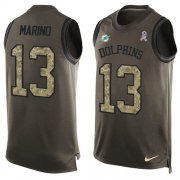 Wholesale Cheap Nike Dolphins #13 Dan Marino Green Men's Stitched NFL Limited Salute To Service Tank Top Jersey