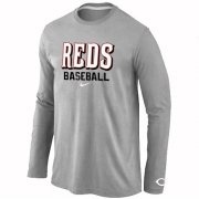 Wholesale Cheap Cincinnati Reds Long Sleeve MLB T-Shirt Grey