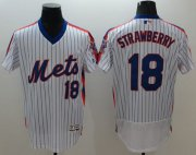 Wholesale Cheap Mets #18 Darryl Strawberry White(Blue Strip) Flexbase Authentic Collection Alternate Stitched MLB Jersey