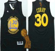 Wholesale Cheap Golden State Warriors #30 Stephen Curry Revolution 30 Swingman All Black Jersey With 2015 Finals Champions Patch