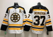 Wholesale Cheap Adidas Bruins #37 Patrice Bergeron White Road Authentic Stitched NHL Jersey