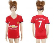Wholesale Cheap Women's Manchester United #7 Beckham Red Home Soccer Club Jersey