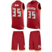 Wholesale Cheap Nike Buccaneers #35 Jamel Dean Red Team Color Men's Stitched NFL Limited Tank Top Suit Jersey