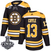 Wholesale Cheap Adidas Bruins #13 Charlie Coyle Black Home Authentic 2019 Stanley Cup Final Stitched NHL Jersey