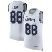 Wholesale Cheap Nike Cowboys #88 CeeDee Lamb White Men's Stitched NFL Limited Rush Tank Top Jersey
