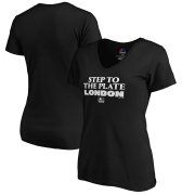 Wholesale Cheap MLB Majestic Women's 2019 London Series Step to the Plate V-Neck T-Shirt - Black