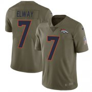 Wholesale Cheap Nike Broncos #7 John Elway Olive Youth Stitched NFL Limited 2017 Salute to Service Jersey