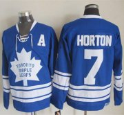 Wholesale Cheap Maple Leafs #7 Tim Horton Blue CCM Throwback Third Stitched NHL Jersey