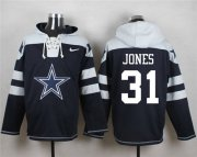 Wholesale Cheap Nike Cowboys #31 Byron Jones Navy Blue Player Pullover NFL Hoodie