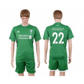 Wholesale Cheap Liverpool #22 Mignolet Green Goalkeeper Soccer Club Jersey