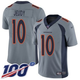 Wholesale Cheap Nike Broncos #10 Jerry Jeudy Gray Men\'s Stitched NFL Limited Inverted Legend 100th Season Jersey
