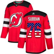Wholesale Cheap Adidas Devils #76 P.K. Subban Red Home Authentic USA Flag Stitched NHL Jersey