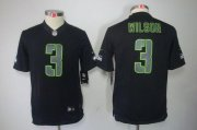 Wholesale Cheap Nike Seahawks #3 Russell Wilson Black Impact Youth Stitched NFL Limited Jersey