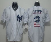 Wholesale Cheap Yankees #2 Derek Jeter White Strip USA Flag Fashion Stitched MLB Jersey