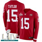 Wholesale Cheap Nike 49ers #15 Trent Taylor Red Super Bowl LIV 2020 Team Color Youth Stitched NFL Limited Therma Long Sleeve Jersey