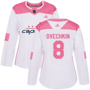 Wholesale Cheap Adidas Capitals #8 Alex Ovechkin White/Pink Authentic Fashion Women's Stitched NHL Jersey