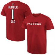 Wholesale Cheap Men's Atlanta Falcons Pro Line College Number 1 Dad T-Shirt Red