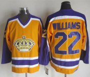 Wholesale Cheap Kings #22 Tiger Williams Yellow/Purple CCM Throwback Stitched NHL Jersey