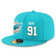 Wholesale Cheap Miami Dolphins #91 Cameron Wake Snapback Cap NFL Player Aqua Green with White Number Stitched Hat