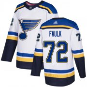 Wholesale Cheap Adidas Blues #72 Justin Faulk White Road Authentic Stitched NHL Jersey
