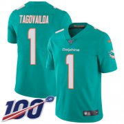 Wholesale Cheap Nike Dolphins #1 Tua Tagovailoa Aqua Green Team Color Men's Stitched NFL 100th Season Vapor Untouchable Limited Jersey
