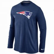 Wholesale Cheap Nike New England Patriots Logo Long Sleeve T-Shirt Dark Blue