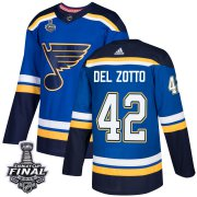 Wholesale Cheap Adidas Blues #42 Michael Del Zotto Blue Home Authentic 2019 Stanley Cup Final Stitched NHL Jersey