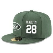 Wholesale Cheap New York Jets #28 Curtis Martin Snapback Cap NFL Player Green with White Number Stitched Hat