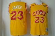 Wholesale Cheap Men's Cleveland Cavaliers #23 LeBron James 2017 The NBA Finals Patch CavFanatic Yellow Hardwood Classics Soul Swingman Throwback Jersey