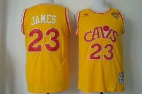 Wholesale Cheap Men\'s Cleveland Cavaliers #23 LeBron James 2017 The NBA Finals Patch CavFanatic Yellow Hardwood Classics Soul Swingman Throwback Jersey