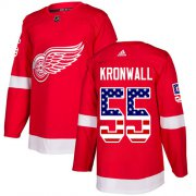 Wholesale Cheap Adidas Red Wings #55 Niklas Kronwall Red Home Authentic USA Flag Stitched Youth NHL Jersey