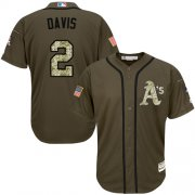 Wholesale Cheap Athletics #2 Khris Davis Green Salute to Service Stitched Youth MLB Jersey