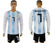 Wholesale Cheap Argentina #7 Benedetto Home Long Sleeves Soccer Country Jersey